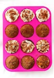Silicone Muffin Pan - 12 Cups Pink Mold & Baking Tray- Reusable, Non-Stick ...