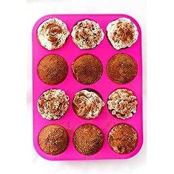 Silicone Cupcake Pan Muffin Tin – Pink Silicon Cupcake Baking Pan 12 Cups – BPA-Free Cupcake Tray – Non stick Eco Birthday Cupcake Muffin Pan – Silicone Cupcake Cake Pan - FREE E-BOOK with 50 RECIPES!