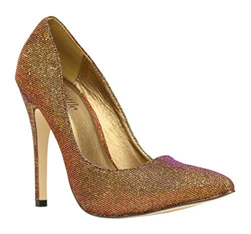 Dames Travail Deux Moyen Pompe Bronze Tons Taille Court Saute Haut Bas Styles Chaussures Femmes Smart Aiguilles Pointue Talons USwxvB