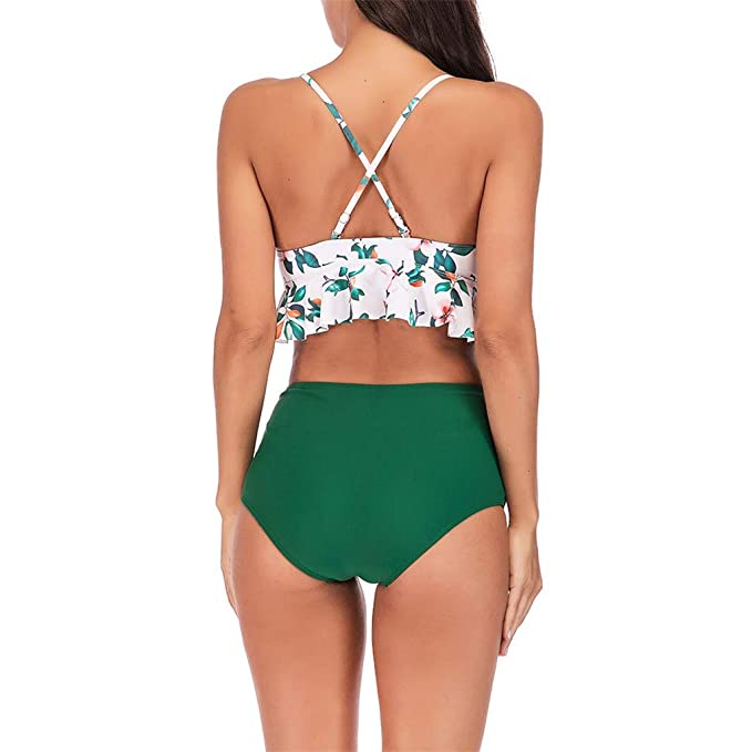 Amazon.com  Funic Women Leaves Print Green Padded Bra Beach Halter High  Waist Strappy Ruffled Flounce Bikini Set (White 01683e89a