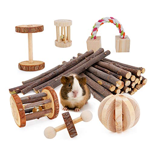 JanYoo Guinea Pig Toys Chinchilla Hamster Roller Rat Chews Toys Bunny Rabbits Bird Exercise Molar Wooden for Teeth(Pack of 7) ()