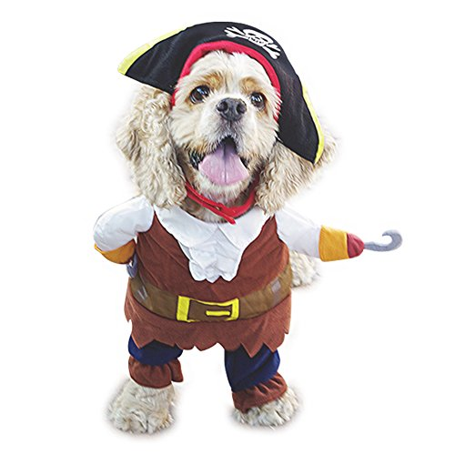 Mikayoo Pet Costume Fashion Pirates of The Caribbean Style Clothes Halloween Suit with a Hat Costume Apparel for Dog & Cat ()