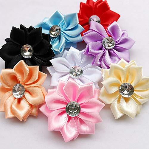 Chenkou Craft 40pcs Satin Ribbon Flower with Pearl Wedding DIY Appliques (Multi)