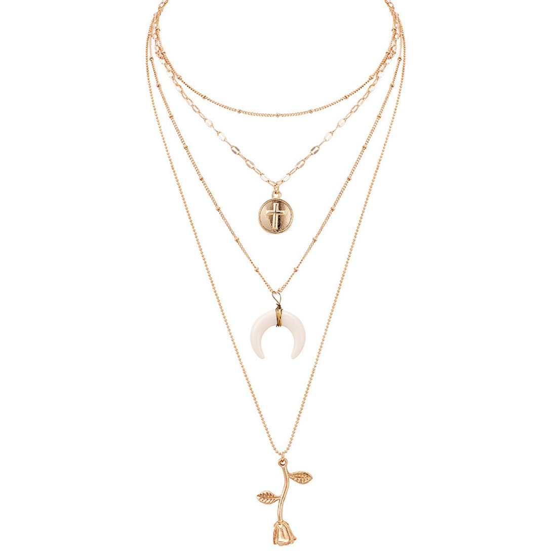 VWH Gold Jewelry Women's Hang Tag Moon Rose Flower Pendant Layered Necklace