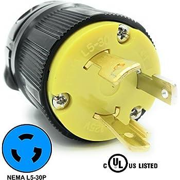 journeyman-pro 2611 30 amp, 125 volt, nema l5-30p, 2p, 3w, locking male plug  connector, black industrial grade, grounding 3750 watts generator rating