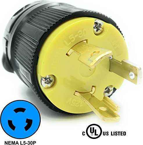 125v Lock Twist Connector - Journeyman-Pro 2611 30 Amp, 125 Volt, NEMA L5-30P, 2P, 3W, Locking Male Plug Connector, Black Industrial Grade, Grounding 3750 Watts Generator Rating (L5-30P Male Plug)