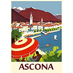 "CANVAS Ascona Switzerland Pearl of Lake Maggiore Travel Tourism Vintage Poster Repro 16"" X 22"" Image Size ON CANVAS. We Have Other Sizes Available !"