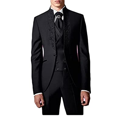 98e6c08dfee3 Botong New Design Black Men Suits 3 Pieces Wedding Suits Groom Tuxedos  Black 34 chest