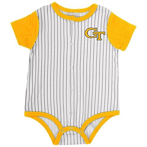 Infant Georgia Tech Yellow Jackets Baseball Pinstripe Bodysuit - 3 to 6 - Bodysuit Print Baseball