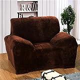 RUGAI-UE Sofa Slipcover thickening flannel sofa set all wrapped fabric fashionable non slip non slip short plush sofa sets,Double seat length 145-185cm,Thickening velvet - Coffee