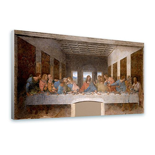 Alonline Art - The Last Supper Leonardo Da Vinci FRAMED STRETCHED CANVAS (100% Cotton) Gallery Wrapped - READY TO HANG | 46''x25'' - 116x64cm | Oil Painting Print Framed Wall Art For Bedroom by Alonline Art