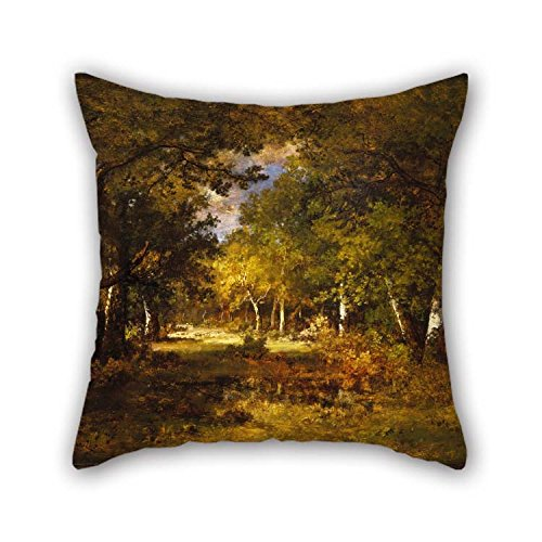 TonyLegner Throw Cushion Covers of Oil Painting Narcisse-Virgile Diaz De La Pe?a - Forest Scene 20 X 20 Inches / 50 by 50 cm Best Fit for Sofa Relatives Divan Bedding Adults Relatives Double Sides
