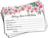 Wedding Advice and Well Wishes - Pink Watercolor Peony Rose (50-Cards)