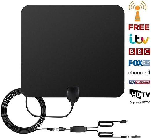 versión 2018 Antena TV Interior, Yihongda Antena de TV de Rango Amplificado de 95 km (60 Millas) Antena TDT con Amplificador de señal y 3M de Cables de Alto Rendimiento (Negro): Amazon.es: Electrónica