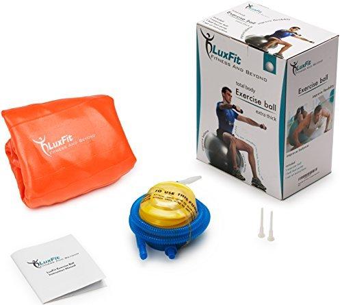 LuxFit Exercise Ball, Premium EXTRA THICK Yoga Ball '2 Year Warranty' - Swiss Ball Includes Foot Pump. Anti-Burst - Slip Resistant! 45cm, 55cm, 65cm, 75cm, 85cm Size Fitness Balls (Orange, 75cm)