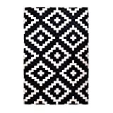 Wolala Home Geometric Rhombus Lattice Striped Black and White Rug Bedroom Bedside Area Rugs 4 Feet by 5 Feet 6 Inch (4'0x5'6, Multi )