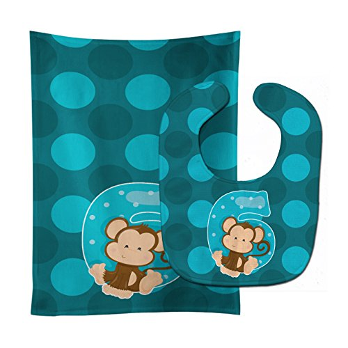 Caroline's Treasures Zoo Month 6 Monkey Baby Bib & Burp Cloth, Multicolor, Large