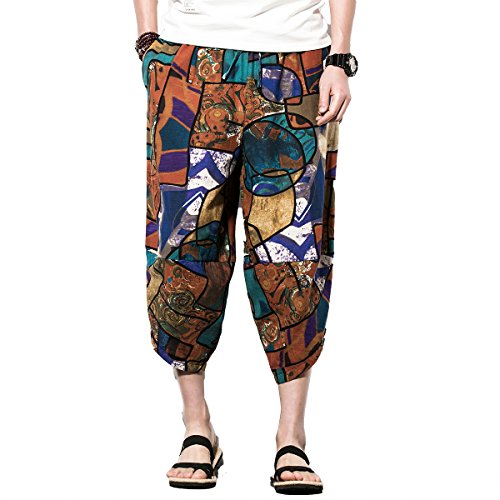 (INVACHI Men's Leisure Cotton Hemp Palazzo Harem Pants - Hippie Yoga Trousers Beach Trunks Bohemia Trousers )
