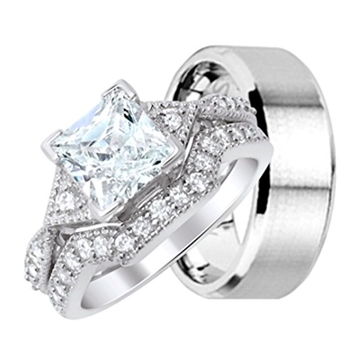 Men and Women Wedding Ring Sets Hers is Sterling Silver His is Stainless Steel (Engament Ring Diamond)