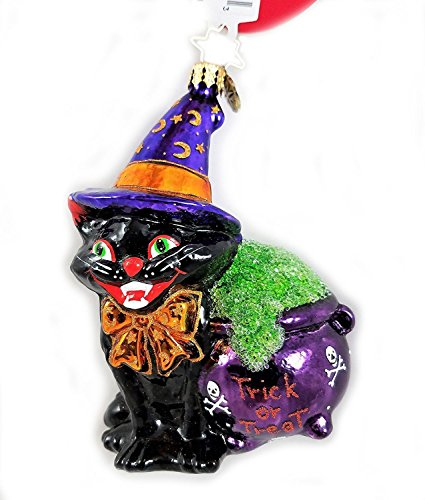 Radko Black Cat with Witch Hat and Cauldron Halloween Glass Ornament Made in -