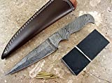 ColdLand Knives Damascus Knife Kit Custom Handmade Damascus Steel Full Tang Blank Blade with Brass Pins, Leather Sheath, Dollar Wood Scales for Knife Making Supplies SK35B-D