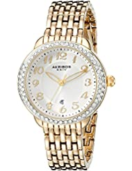 Akribos XXIV Womens AK831YG Quartz Movement Watch with Champagne Dial Featuring a Crystal Filled Bezel and Yellow...