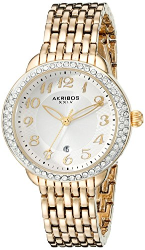 Gold Case Champagne Dial (Akribos XXIV Women's AK831YG Quartz Movement Watch with Champagne Dial Featuring a Crystal Filled Bezel and Yellow Gold Bracelet)