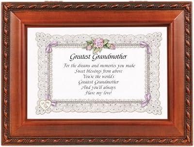 Greatest Grandmother Grandma Woodgrain Musical Music Jewelry Box Plays Wind Beneath Wings by Cottage Garden