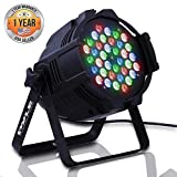 DJ Par Stage Light Projector - RGB Color LED Bulb - Tabletop or Ceiling Mountable for Performance Show or Dance Party with Flashing Disco Strobe, Beat Sync Motion Effect and DMX Control - Pyle PDJLT30