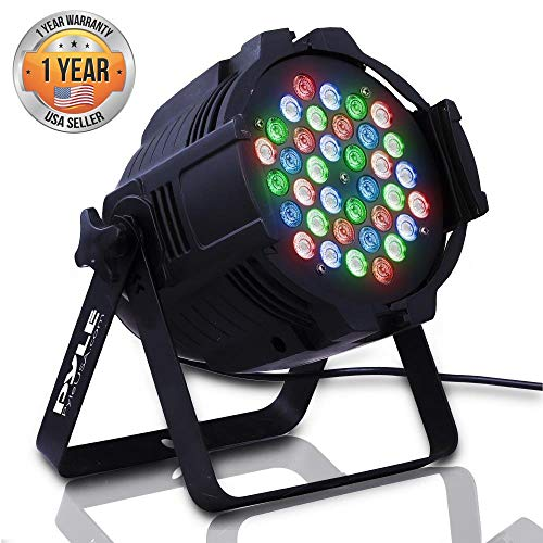 (DJ Par Stage Light Projector - RGB Color LED Bulb - Tabletop or Ceiling Mountable for Performance Show or Dance Party with Flashing Disco Strobe, Beat Sync Motion Effect and DMX Control - Pyle PDJLT30)