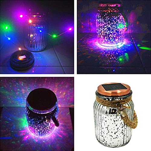 Solar Christmas Lights Outdoor Decorations Jar Table Light Glass Ball Table Lamp Decorative Mason Jars Hanging Solar Lantern Silver Tabletop Decor 4 Color 8 LED Copper Wire Rope Hanger for Gift Yard