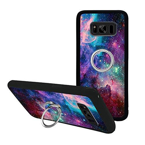 Universal Custom Purple Space Sky Samsung Galaxy S8 Phone Case Ring Holder Kickstand Rotational Heavy Duty Armor Protective Soft TPU Bumper Shell Cover for Samsung Galaxy S8
