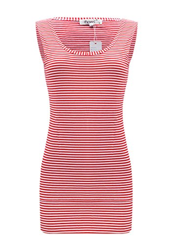 Striped Tank Tops for Women Scoop Neck Long Stretch Camisole Layering Top (Red, S) (Long Rib Tank)