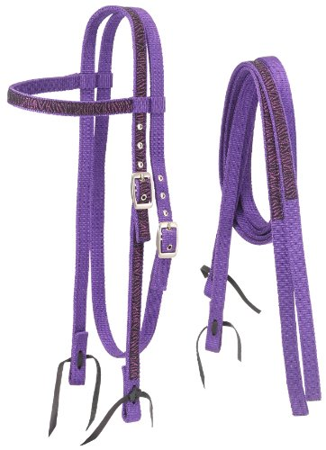Tough 1 Nylon Browband Headstalls and Reins with Printed Overlay, Purple Zebra