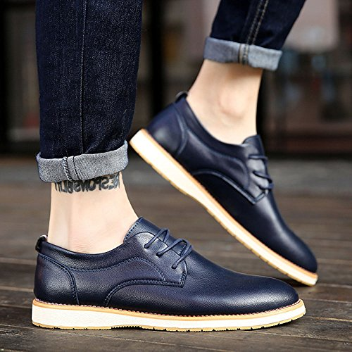 Zapatos Spring Juventud De Autumn Cuero Blue British Cordones Casual Estudiante Transpirable Business Zpfdy zA61xz