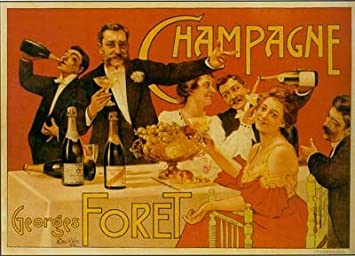 Amazon.com: Champagne Party Foret French Vintage Poster ...