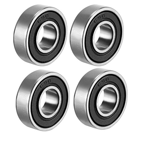 - uxcell 698-2RS Deep Groove Ball Bearing Double Sealed 1180098, 8mm x 19mm x 6mm Carbon Steel Bearings (Pack of 4)