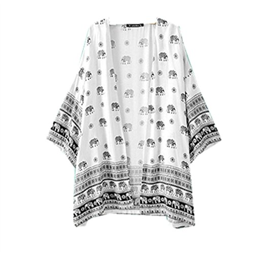 Clearance!WuyiMC Women's Elephant Printed Half Sleeve Kimono Fashion Cardigan (XL, - Delivery Time Package Usps