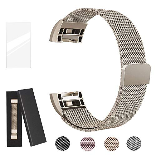 Metal Bands Compatible for Fitbit Charge 2 Bands, Milanese Stainless Steel Mesh Magnetic Replacement Strap Small & Large w/Screen Protector for Women Men,Mother's and Father's Gift