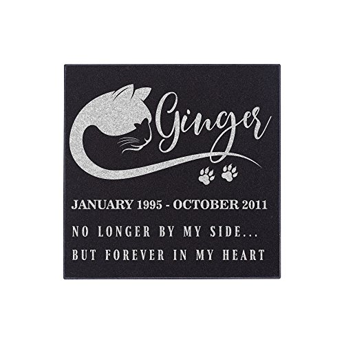 Pet Memorial Stone Personalized - Granite Cat Grave Marker | 3 Size Options |Sympathy Poem, Loss of Cat Gift, Indoor - Outdoor Tombstone Headstone - Cat Grave Marker w/Pet Name and Dates