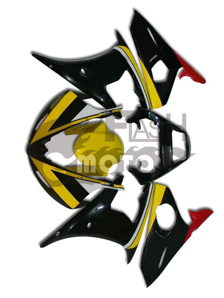 FlashMoto yamaha ヤマハ YZF-600 R6 2003 2004用フェアリング 塗装済 オートバイ用射出成型ABS樹脂ボディワークのフェアリングキットセット (イエロー,ブラック)   B07LF283FM