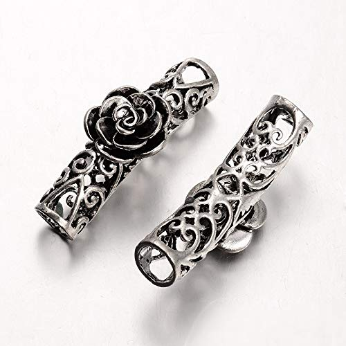 Pandahall 10pcs Tibetan Style Alloy Curved Tube Beads Hollow Bar Lined Noodle Shape Beads Spacers with Rose Flower Antique Silver 42x14mm