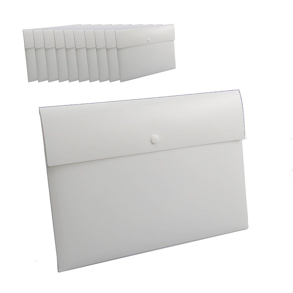 Oak-Pine 10 Pcs/1 Set Simple Frosted Plastic Poly Envelope Envelope Water/tear Resistant A4 File Folder Pocket Document Wallet Paper Files Record Bag with Snap Button Black