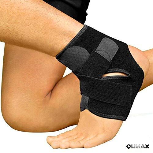 (QUMAX Ankle Support Brace for Sports Ankle Sprains Strain Adjustable Breathable Elastic Slim Comfortable Compression Sleeve Stabilizer for Men, Women, Youth)