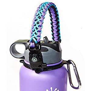 WaterFit Paracord Carrier Strap Cord with Safety Ring and Carabiner for 12-Ounce to 64-Ounce Wide Mouth Water Bottles, PurpleBlue/Compass+FireStarter