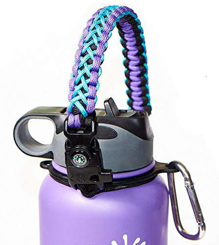 WaterFit Paracord Carrier Strap Cord with Safety Ring and Carabiner for 12-Ounce to 64-Ounce Wide Mouth Water Bottles, PurpleBlue/Compass+FireStarter (Compass Cover Fits)