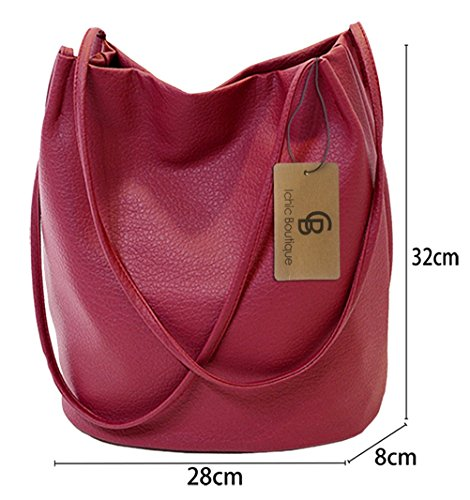 Purse Hobo Tote Leather Red Handbags Bags Bucket Shoulder Dark Womens pBxTqOnawA