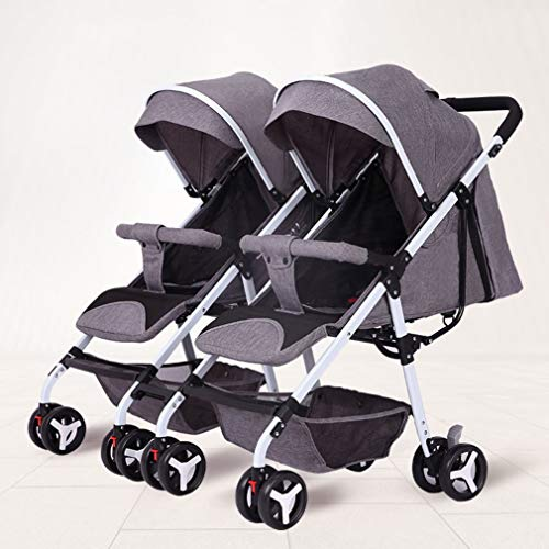 Lightweight Double Stroller, Compact Fold Travel Stroller, Versatile Side by Side Tandem Umbrella Stroller, 360° Turning All Terrain Double Pushchair (Color : Gray)