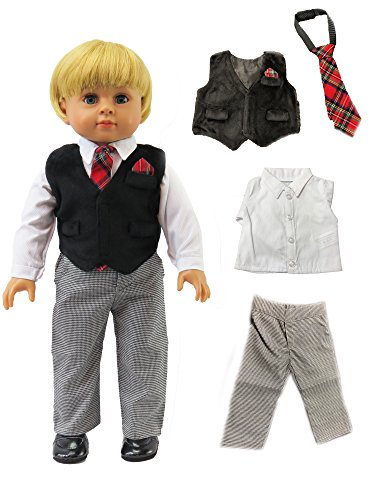 Doll Girl American Alexander Madame - Boy's Gray and Black Formal Outfit -Fits 18
