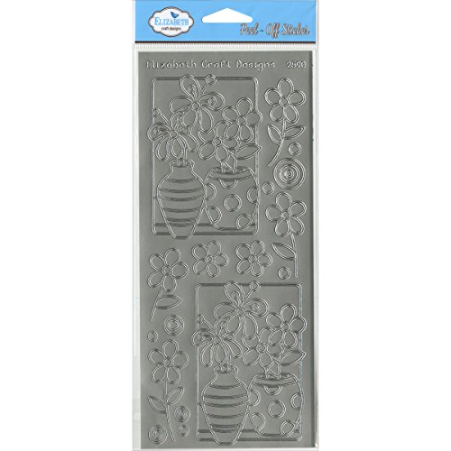 Elizabeth Craft Designs Flower Vases Peel-Off Stickers, Silver